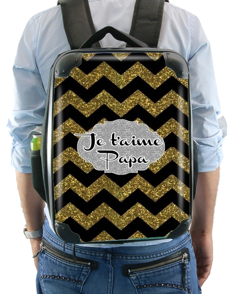 chevron gold and black - Je t'aime Papa for Backpack