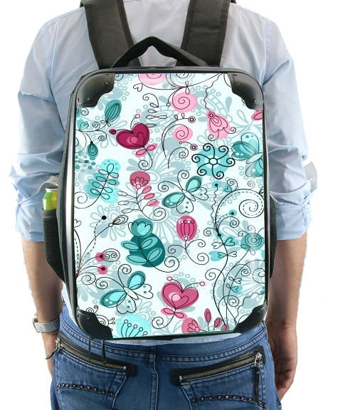 doodle flowers and butterflies for Backpack