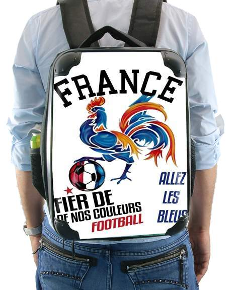 France Football Coq Sportif Fier de nos couleurs Allez les bleus for Backpack