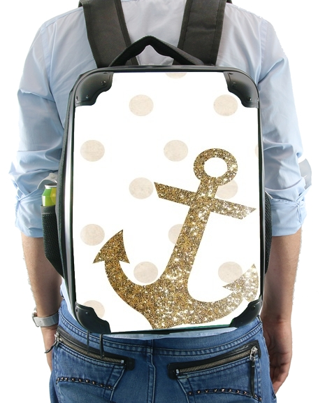 Glitter Anchor and dots in gold for Backpack