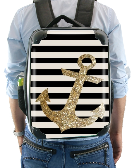 gold glitter anchor in black for Backpack