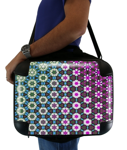 "Abstract bright floral geometric pattern teal pink white for Laptop briefcase 15"" / Notebook / Tablet"