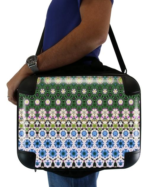 "Abstract ethnic floral stripe pattern white blue green for Laptop briefcase 15"" / Notebook / Tablet"