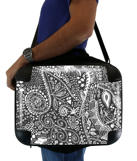 "Aztec B&W (Handmade) for Laptop briefcase 15"" / Notebook / Tablet"