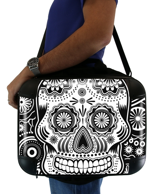 "black and white sugar skull for Laptop briefcase 15"" / Notebook / Tablet"