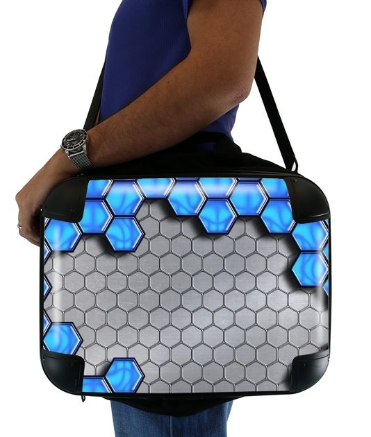 "Blue Metallic Scale for Laptop briefcase 15"" / Notebook / Tablet"