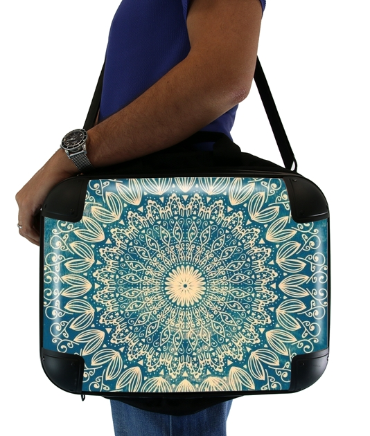 "Blue Organic boho mandala for Laptop briefcase 15"" / Notebook / Tablet"