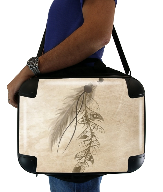 "Boho Feather for Laptop briefcase 15"" / Notebook / Tablet"