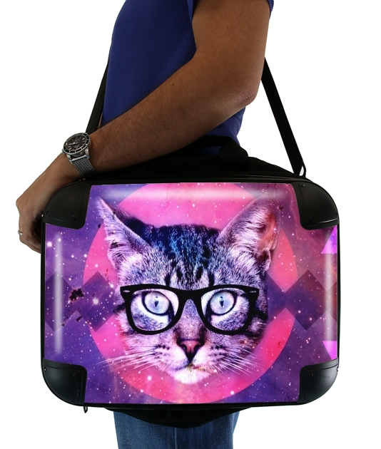 "Cat Hipster for Laptop briefcase 15"" / Notebook / Tablet"