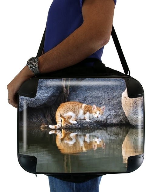 "Cat Reflection in Pond Water for Laptop briefcase 15"" / Notebook / Tablet"