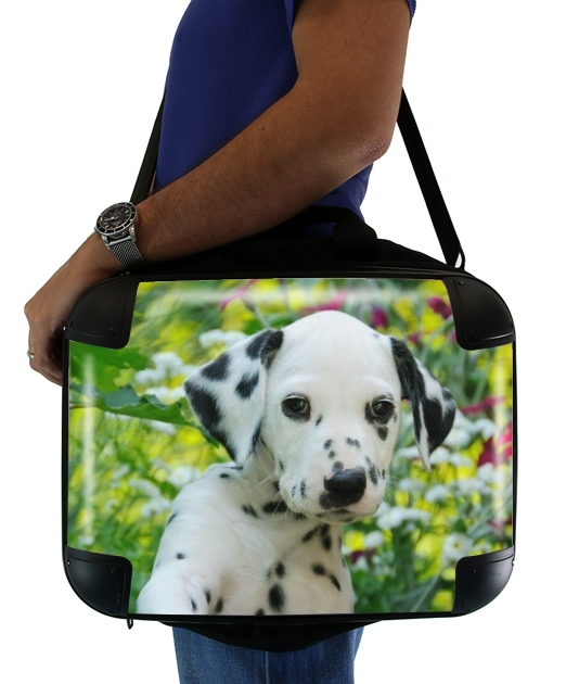 "Cute Dalmatian puppy in a basket  for Laptop briefcase 15"" / Notebook / Tablet"