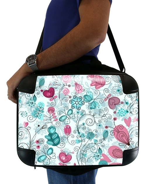 "doodle flowers and butterflies for Laptop briefcase 15"" / Notebook / Tablet"