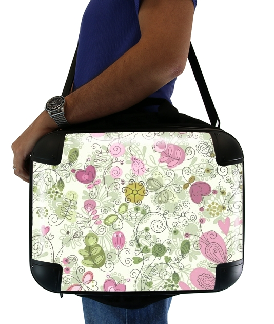 "doodle flowers for Laptop briefcase 15"" / Notebook / Tablet"