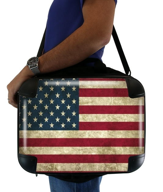 "Flag USA Vintage for Laptop briefcase 15"" / Notebook / Tablet"