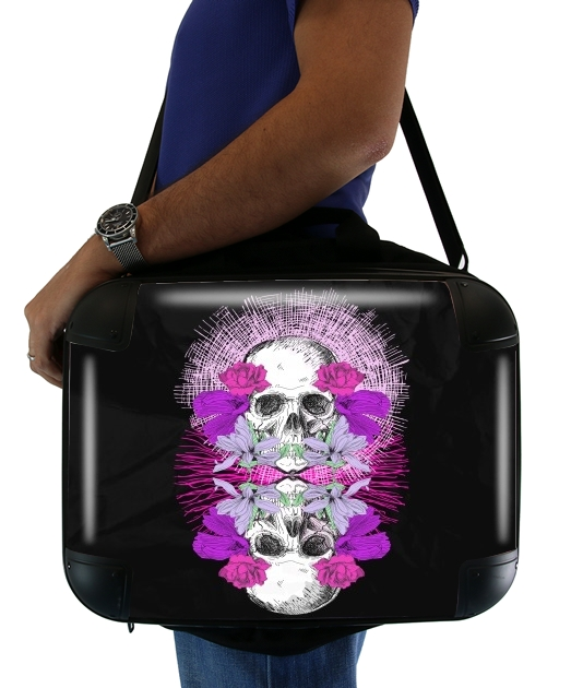"Flowers Skull for Laptop briefcase 15"" / Notebook / Tablet"