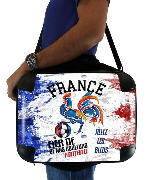 "France Football Coq Sportif Fier de nos couleurs Allez les bleus for Laptop briefcase 15"" / Notebook / Tablet"