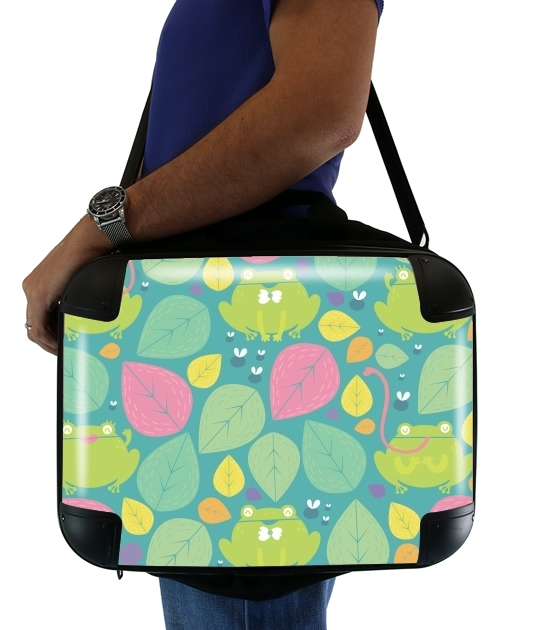 "Frogs and leaves for Laptop briefcase 15"" / Notebook / Tablet"