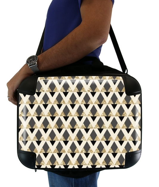 "Glitter Triangles in Gold Black And Nude for Laptop briefcase 15"" / Notebook / Tablet"