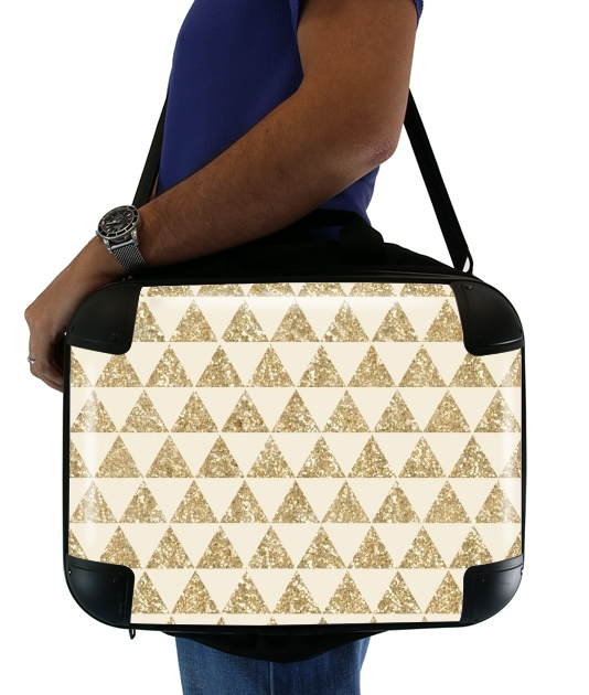 "Glitter Triangles in Gold for Laptop briefcase 15"" / Notebook / Tablet"