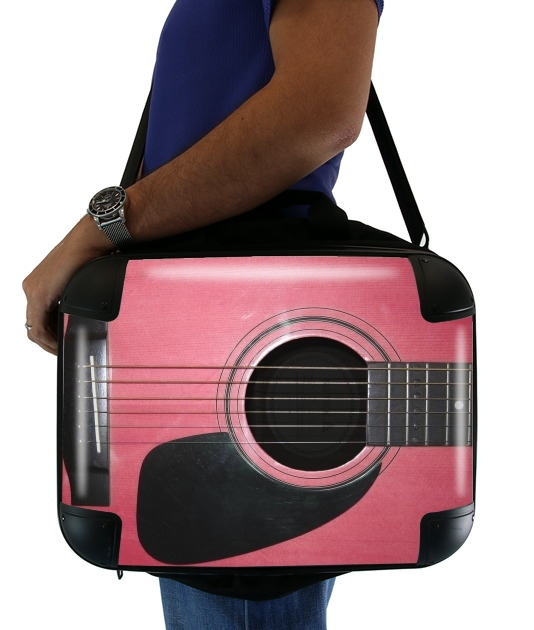 "Pink Guitar for Laptop briefcase 15"" / Notebook / Tablet"
