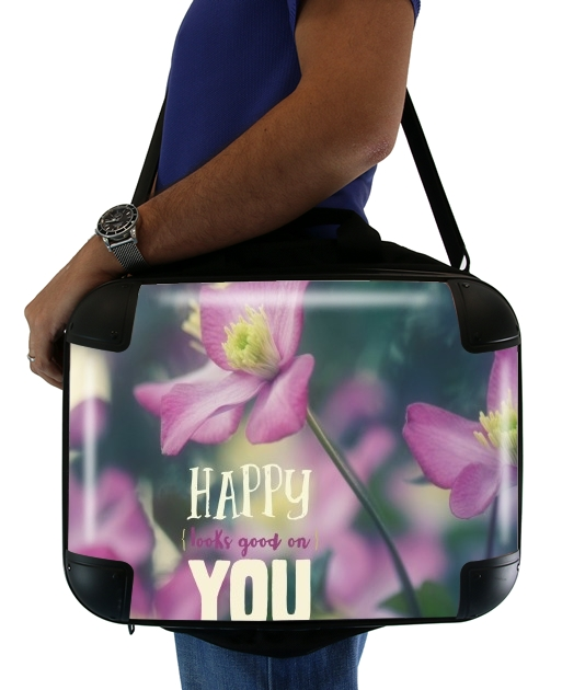 "Happy Looks Good on You for Laptop briefcase 15"" / Notebook / Tablet"