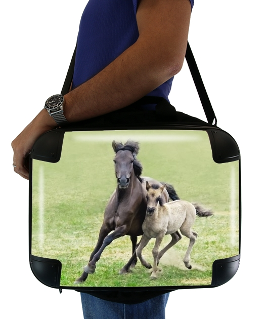 "Horses, wild Duelmener ponies, mare and foal for Laptop briefcase 15"" / Notebook / Tablet"