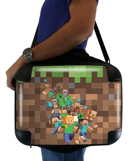 "Minecraft Creeper Forest for Laptop briefcase 15"" / Notebook / Tablet"