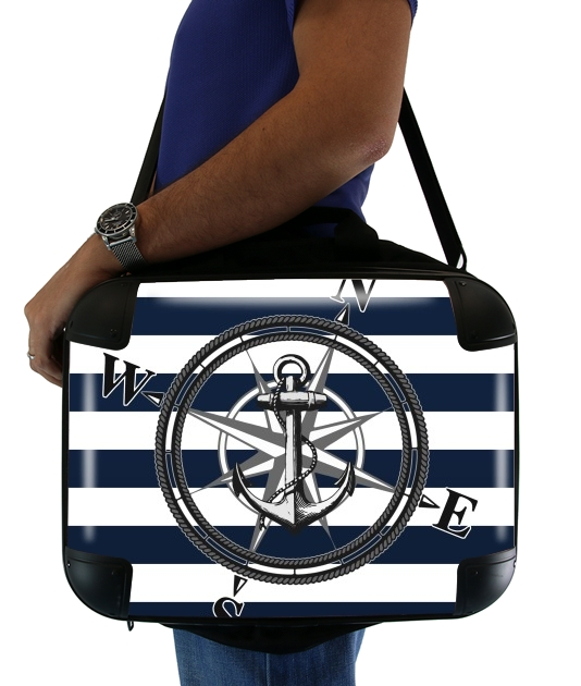 "Navy Striped Nautica for Laptop briefcase 15"" / Notebook / Tablet"