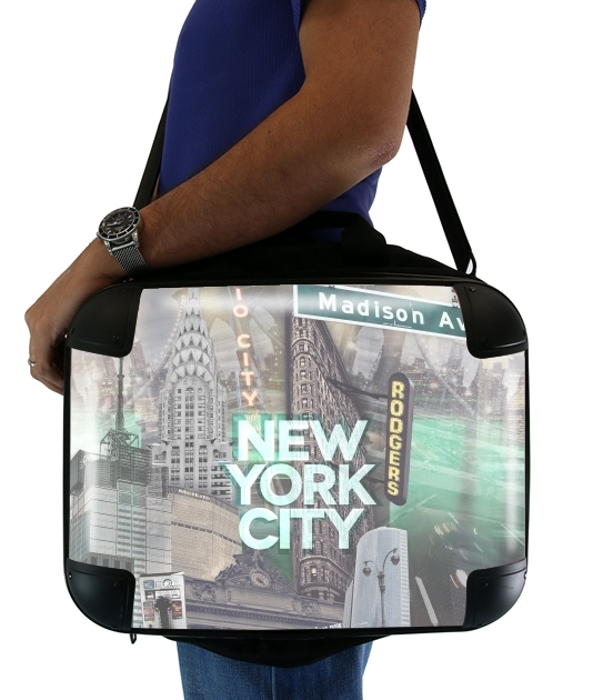 "New York City II [green] for Laptop briefcase 15"" / Notebook / Tablet"