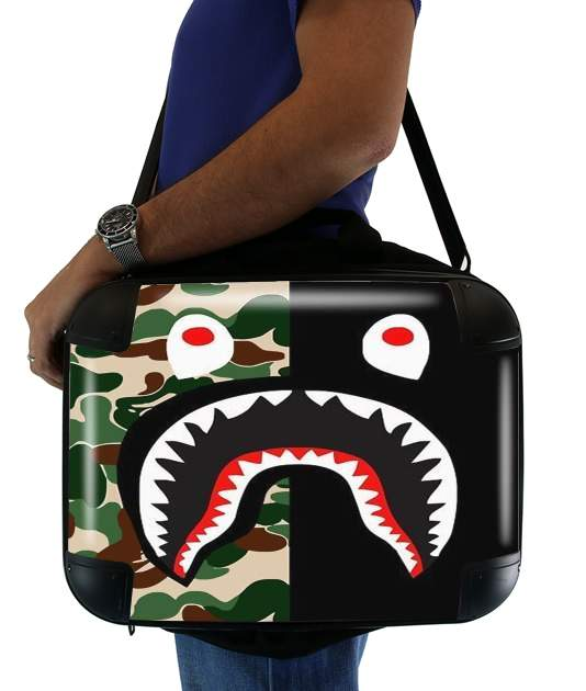 "Shark Bape Camo Military Bicolor for Laptop briefcase 15"" / Notebook / Tablet"