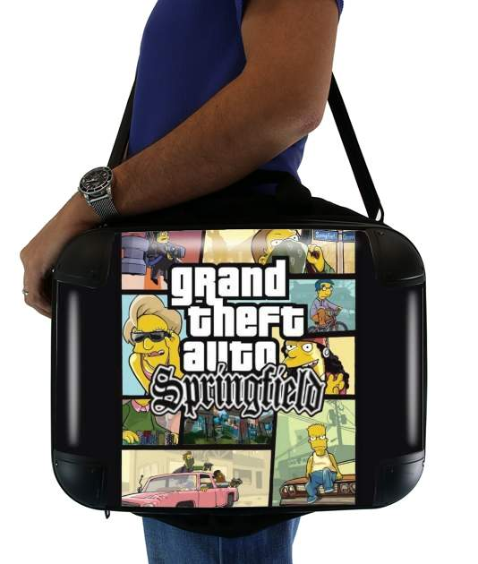 "Simpsons Springfield Feat GTA for Laptop briefcase 15"" / Notebook / Tablet"