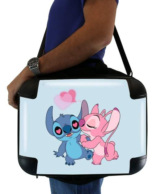 "Stitch Angel Love Heart pink for Laptop briefcase 15"" / Notebook / Tablet"