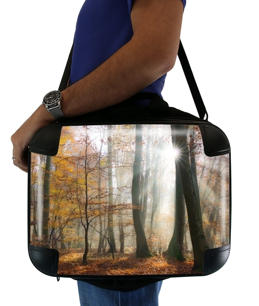 "Sun rays in a mystic misty forest for Laptop briefcase 15"" / Notebook / Tablet"