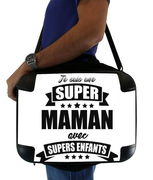 "Super maman avec super enfants for Laptop briefcase 15"" / Notebook / Tablet"