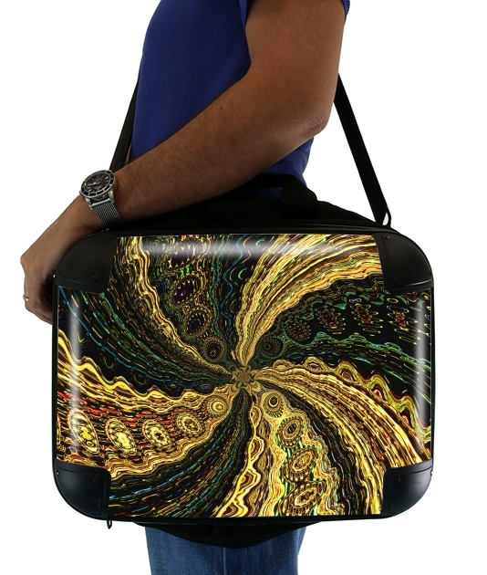 "Twirl and Twist black and gold for Laptop briefcase 15"" / Notebook / Tablet"