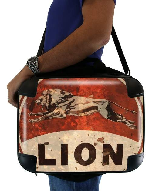 "Vintage Gas Station Lion for Laptop briefcase 15"" / Notebook / Tablet"