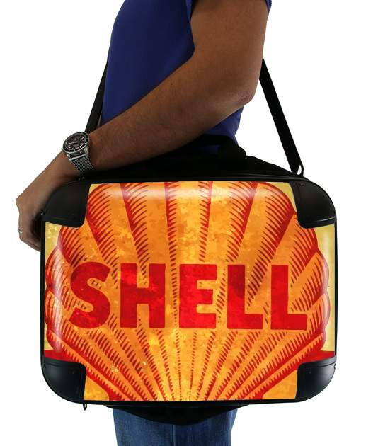 "Vintage Gas Station Shell for Laptop briefcase 15"" / Notebook / Tablet"