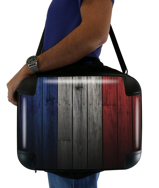 "Wooden French Flag for Laptop briefcase 15"" / Notebook / Tablet"