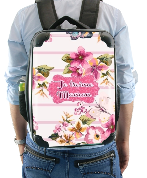 Pink floral Marinière - Je t'aime Maman for Backpack