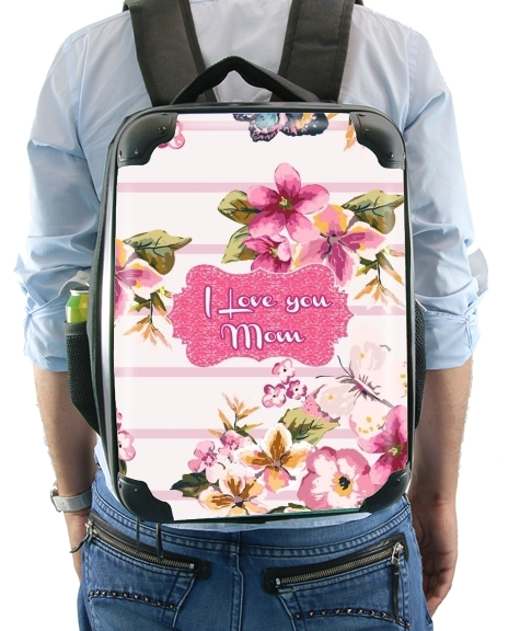 Pink floral Marinière - Love You Mom for Backpack