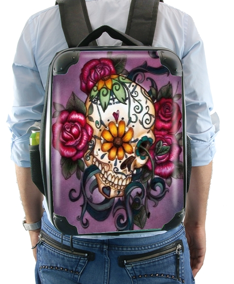 Skull Flowers Purple for Backpack