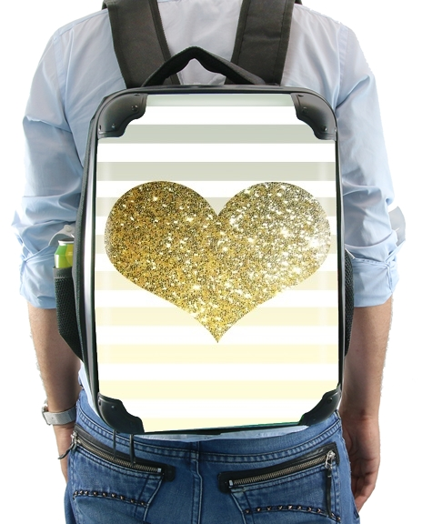 Sunny Gold Glitter Heart for Backpack