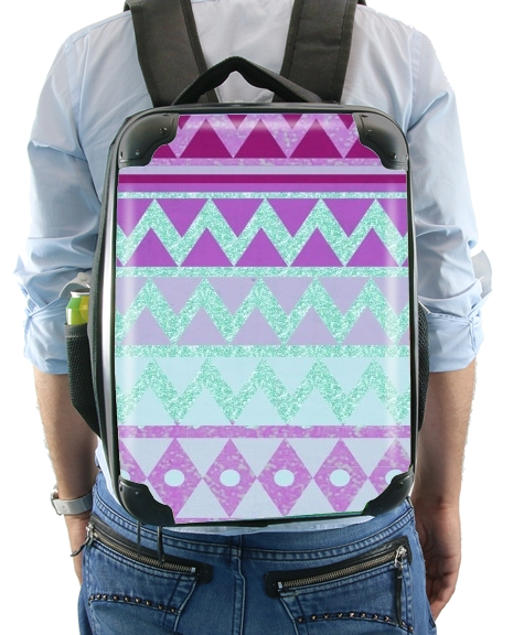 Tribal Chevron in pink and mint glitter for Backpack
