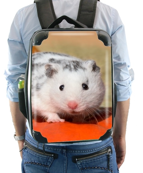 White Dalmatian Hamster with black spots  for Backpack