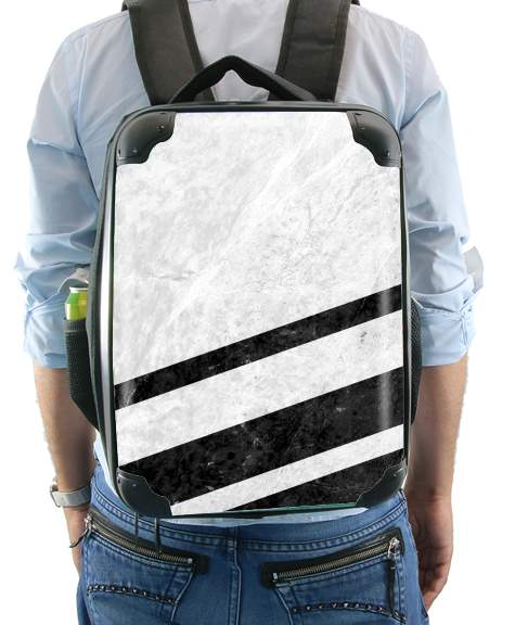 White Striped Marble for Backpack