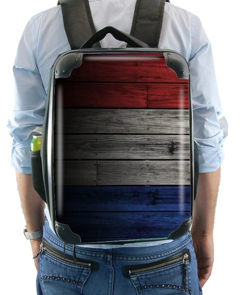 Wooden French Flag for Backpack