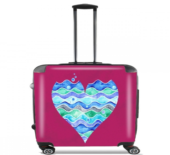 "A sea of Love (purple) for Wheeled bag cabin luggage suitcase trolley 17"" laptop"