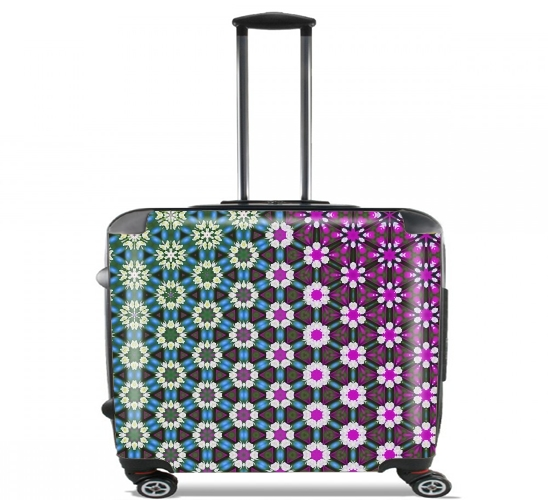 "Abstract bright floral geometric pattern teal pink white for Wheeled bag cabin luggage suitcase trolley 17"" laptop"
