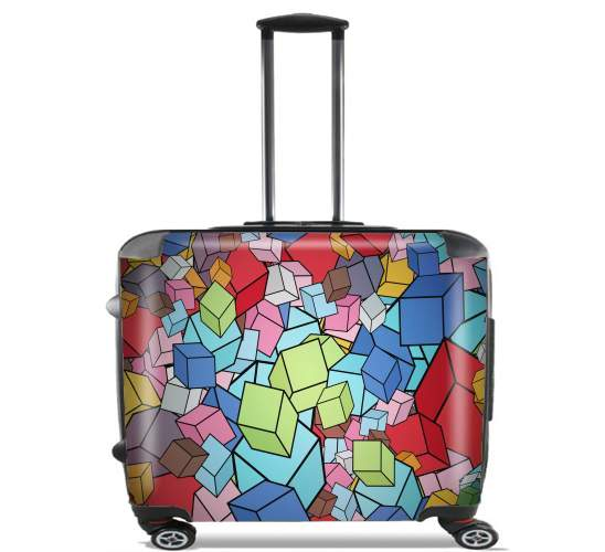 "Abstract Cool Cubes for Wheeled bag cabin luggage suitcase trolley 17"" laptop"