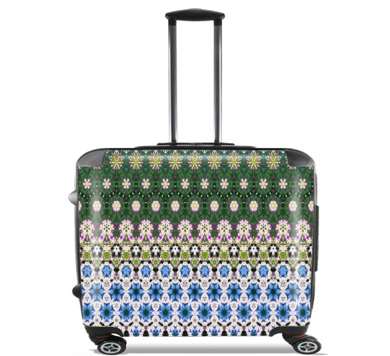 "Abstract ethnic floral stripe pattern white blue green for Wheeled bag cabin luggage suitcase trolley 17"" laptop"